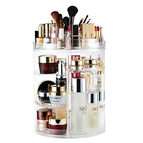 White Tray Inserts Displays - AMEITECH Makeup Organizer, 360 Degree Rotating Adjustable Cosmetic Storage Display Case with 8 Layers Large Capacity, Fits Jewelry,Makeup Brushes, Lipsticks and More, Clear Transparent