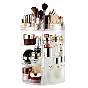 #LightningDeal Makeup Organizer, 360 Degree Rotating Adjustable Cosmetic Storage Display Case with 8 Layers Large Capacity, Fits Jewelry,Makeup Brushes, Lipsticks and More, Clear Transparent