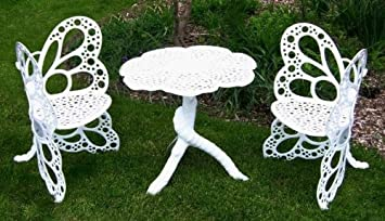Flower House FHBFBSET W Butterfly Bistro Set, White