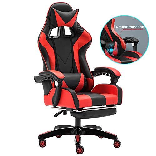 GT-LYD Silla De Escritorio Gamer Profesional, Silla ergonomica giratoria para computadora con Almohada Lumbar masajeadora, Silla reclinable a 170 ° y Estilo Pedal Racing, Ajustable Rojo Negro