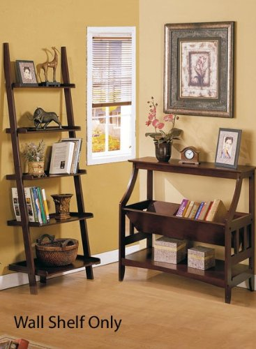 Wall Corner Shelf with Storage Shelves - Cherry Brown Finish