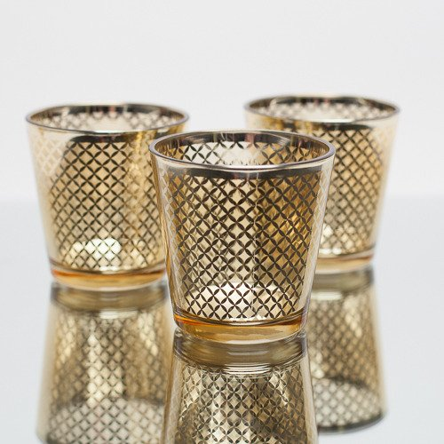 Richland Lattice Gold Metallic Glass Candle Holder Medium Set of ()