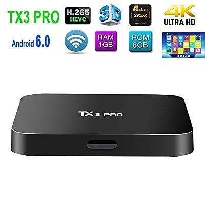 Mercu TX3 Pro Android 6.0 Marshmallow TV Box Amlogic S905X Quad Core 3D 4K HD WiFi Google Smart TV Box(1GB/8GB )