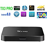 ROMANTIC BEAR 2017 TX3 Pro Android 6.0 TV Box - Amlogic S905X Marshmallow Quad Core ARM Cortex-A53 up to 2.0GHZ 1GB/8GB 3D 4K HD WiFi Google Smart TV Box