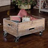 French Country Reclaimed Wood Rolling Storage Box
