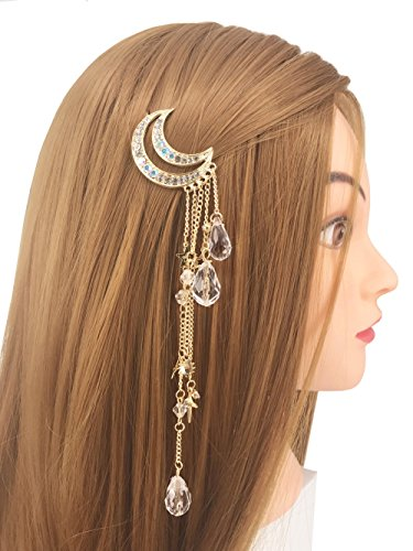 Tassel with Crystal Beads Charms Hair Clip Pin Hair Chain Jewelry Hair Accessories (Gold Moon Tassel) ()