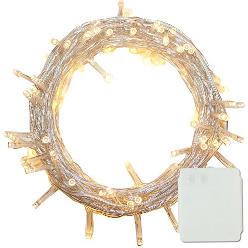PMS 100 LED String Fairy Lights Clear Cable Battery Power Operated Indoor & Outdoor for Christmas Tree Xmas Party Garden Decoration(Warm White, 100 LEDs) by Pms