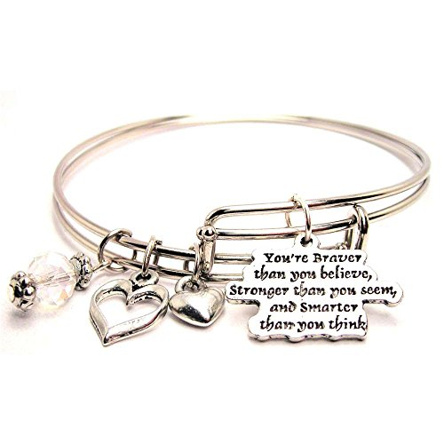 Plus Size You're Braver Than You Believe Adjustable Wire Bangle Set