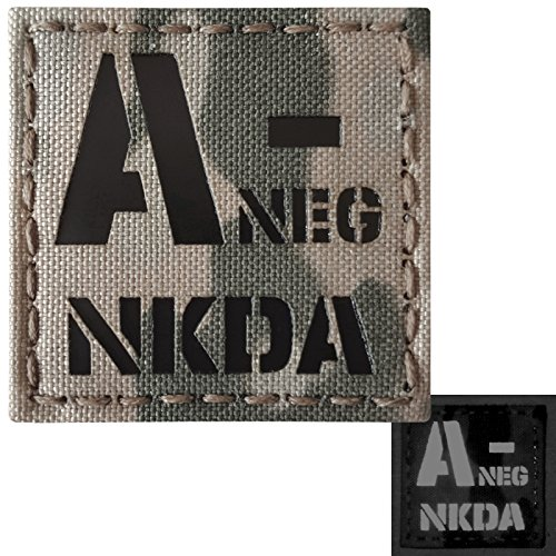 Multicam Infrared IR ANEG NKDA A- Blood Type 2x2 Laser Reflective Tactical Morale Hook&Loop Patch
