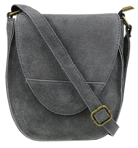 Girly Oval Shoulder Genuine Flap Handbags Bag Suede Grey Dark wxqn6wpSr4