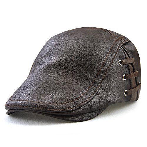 Golf Winter Cap - FayTop Men's Vintage Newsboy Cap PU Leather Ivy Flat Gatsby Hat Winter Golf Driving Hats Beret Caps E12968-dark Coffee