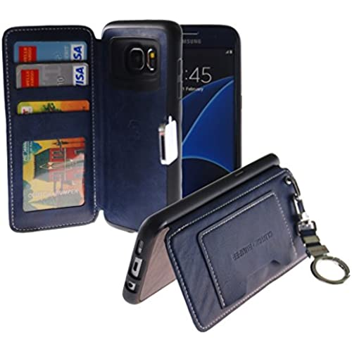 [Back Pocket Case] [5 Card Slot] Finger Holder Clip PU Leather TPU Bumper Clutch Case [Drop Protection] For Galaxy S7 Edge (Navy) Sales