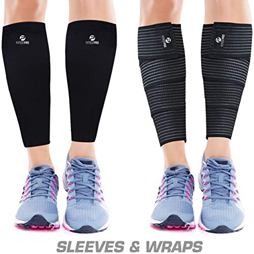 Calf Compression Sleeve Socks and Leg Wraps (4 Piece) Shin Splint Support, Calve Guards for Men and Women - Braces Provide Healthy Circulation Pain Relief for Running, Basketball, Cycling, Maternity - Shin Compression Wrap