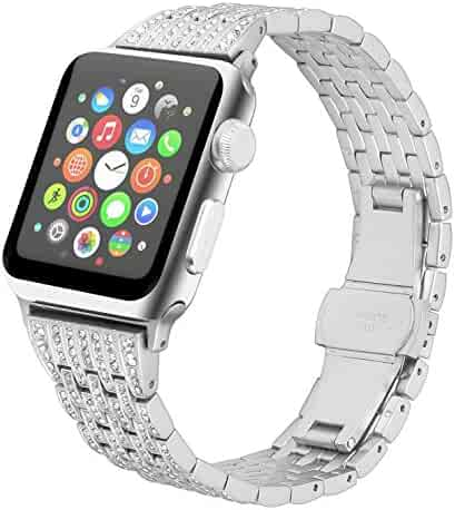 Juzzhou Band For Apple Watch iWatch 38mm/42mm Series 1/2/3 Stainless Steel Replacement With Metal Adapter