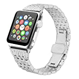 Juzzhou Watch Band For Apple Watch iWatch Series 1/2/3 Sport Edition Replacement Stainless Steel Faux Jewelry Wriststrap Bracelet Wrist Strap with Metal Adapter Buckle For Woman Lady Girl Silver 38mm