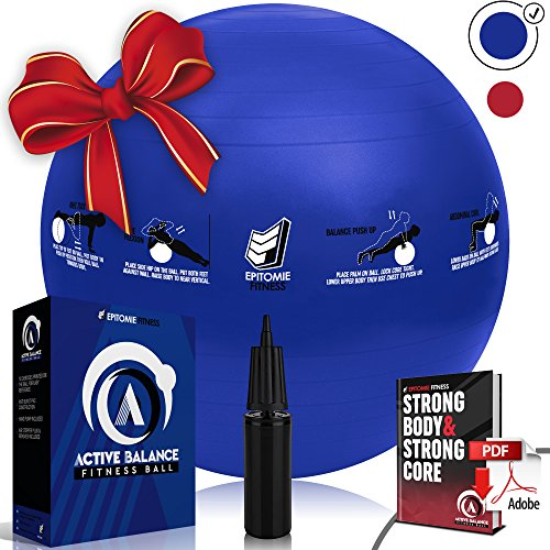 Active Balance 75cm Fitness Ball - Exercise & Stability Balls With Imprinted Exercises & Training eBook - Best Core Trainer For Pilates, Exercising & To Tone Abs (Navy Blue)