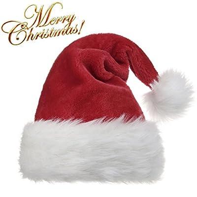 OPOLEMIN Plush Red Velvet Santa Hat & Comfort Liner Christmas Halloween Costume