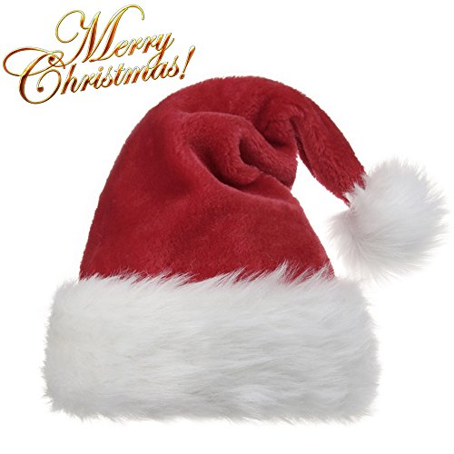 OPOLEMIN Santa Hat for Adults Plush Red Velvet & Comfort Liner Christmas Halloween Costume (Red)