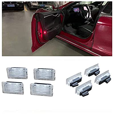 Car Interior Car Door Light Upgrade Lighting Replacement Compatible Kit Glitter Lamp for Model 3 X S(4 pcs)(Red): Automotive