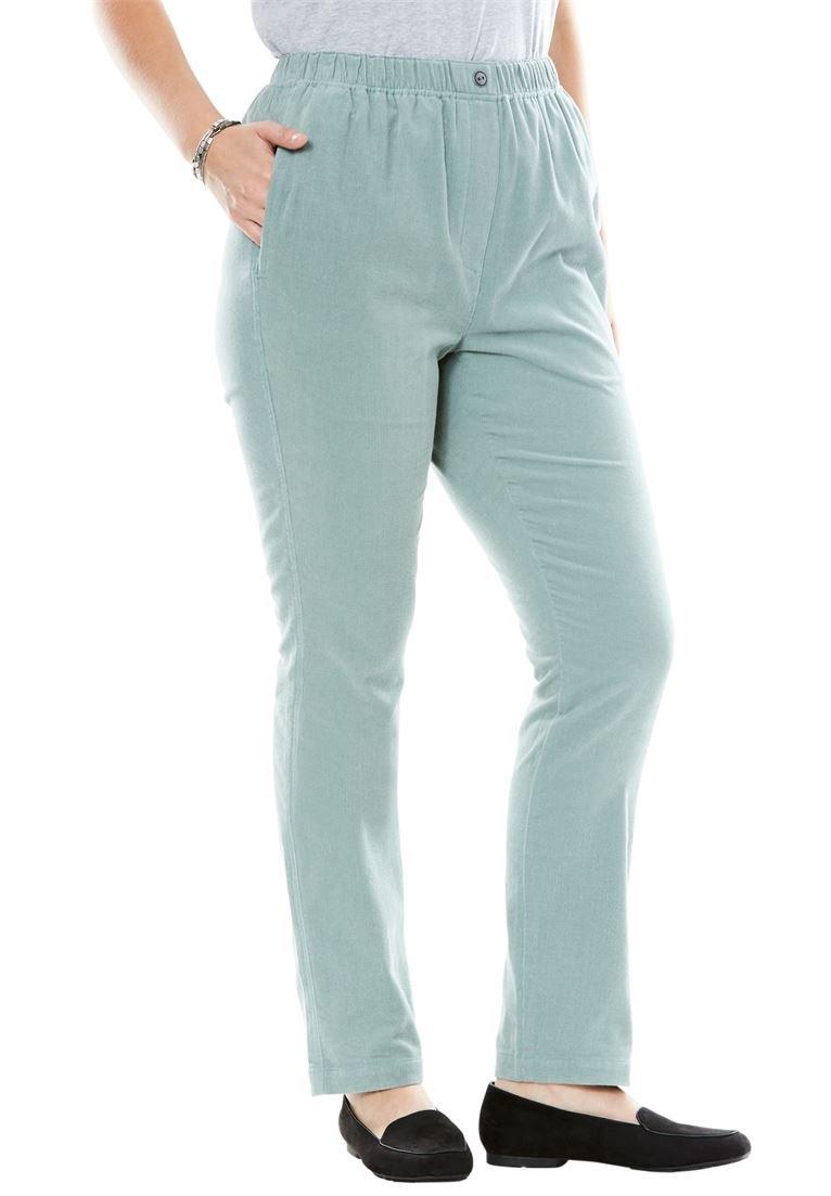 Women's Plus Size Comfort Waist Straight Leg Corduroy Pant Grey Sage,26 W