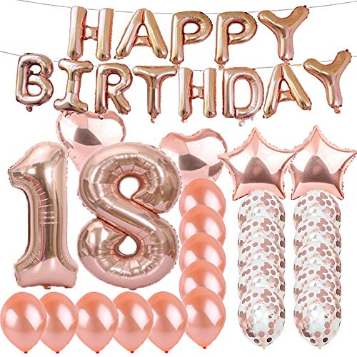 Sweet 18th Birthday Decorations Party SuppliesRose Gold Number 18 Balloons Foil Mylar