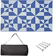 Amazon Basics Outdoor Mat - for RV, Camping, Patio - Carry Bag and Rug Stakes Included, Weather Resistant, Blu