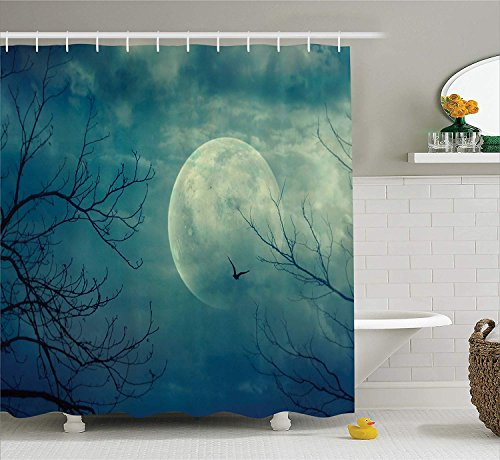 U coolhouse Horror House Decor Shower Curtain, Halloween with Full Moon in Sky and Dead Tree Branches Evil Haunted Forest, Fabric Bathroom Decor Set with Hooks, 70 inches, Blue -