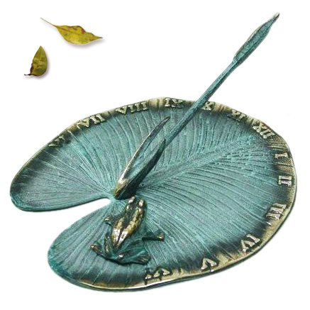 Solid Brass Sundial - Frog on Lily Pad