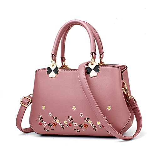 elegantecolorekakitaglia Women Fashion Shoulder Bag Pelle ricamo Large Oudan Capacity multifunzione unicaRosa tsQrdCxhB