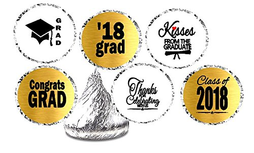 CakeSupplyShop Class of 2018 Graduation Party Supplies Collection (216ct Hesheys Kisses Decorative Stickers) (Kisses Toppers)