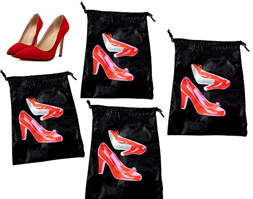 Price comparison product image 4 ALAZCO Travel Shoe Bags Nylon with Drawstring Closure (Red High Heels Print)