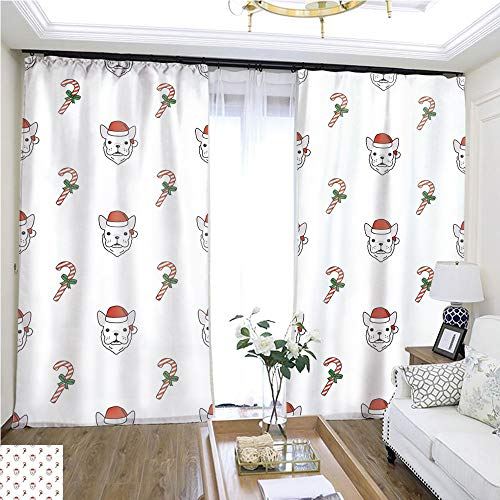 - Structured Curtain Dog French Bulldog Christmas Santa Claus Gift Candy Cane Xmas New Year Vector Seamless Pattern Wallpaper Background W72 x L75 Print Curtains Bedroom Curtains Highprecision curtai