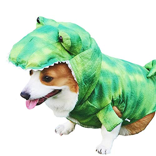 MUYAOPET Halloween Dinosaur Large Dog Costume Outfts Dog Winter Pet Coat Jacket for Corgi Bulldog (3XL, Green) -