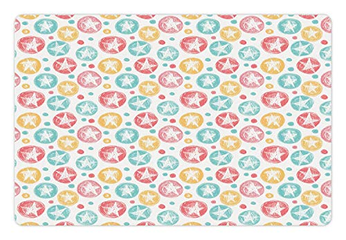 (Lunarable Abstract Pet Mat for Food and Water, Simplistic Colorful Pattern of Stars in Scribble Rounds, Rectangle Non-Slip Rubber Mat for Dogs and Cats, Pale Teal Pale Ruby Mustrad and White)