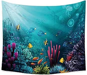 نسيج معلق جداري مطبوع عليه أشكال أسماك الحياة البحرية ثلاثية الأبعاد