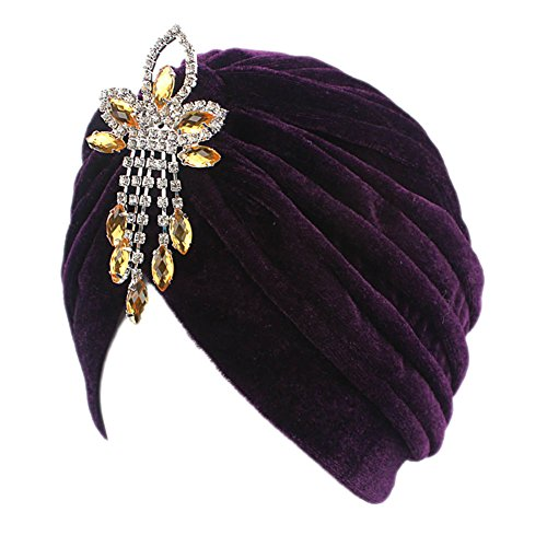 BAOBAO Women Velvet Indian Cap Crystal Flower Stretch Turban Hat Chemo Headwrap Headscarf ()