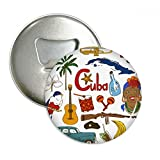 Cuba Landscap Animals National Flag Round Bottle Opener Refrigerator Magnet Pins Badge Button Gift 3pcs