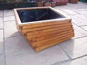 Hecho a mano de madera 1 m x 200 mm montado pre trenzado comedero de roble Pottyplanters