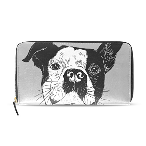 Womens Portrait Of French Bulldog Pattern Long Wallet & Purse Case Card Holder (French Purse Leather Personalized)
