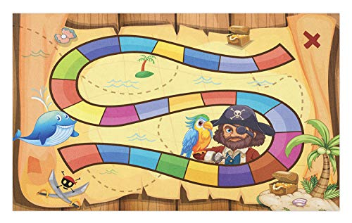 (Ambesonne Nursery Activity Doormat, Treasure Hunt in The Adventure of The Pirate Cove Cartoon Drawing Style, Decorative Polyester Floor Mat with Non-Skid Backing, 30 W X 18 L Inches, Multicolor)