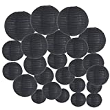 Just Artifacts Decorative Round Chinese Paper Lanterns 24pcs Assorted Sizes (Color: Black)
