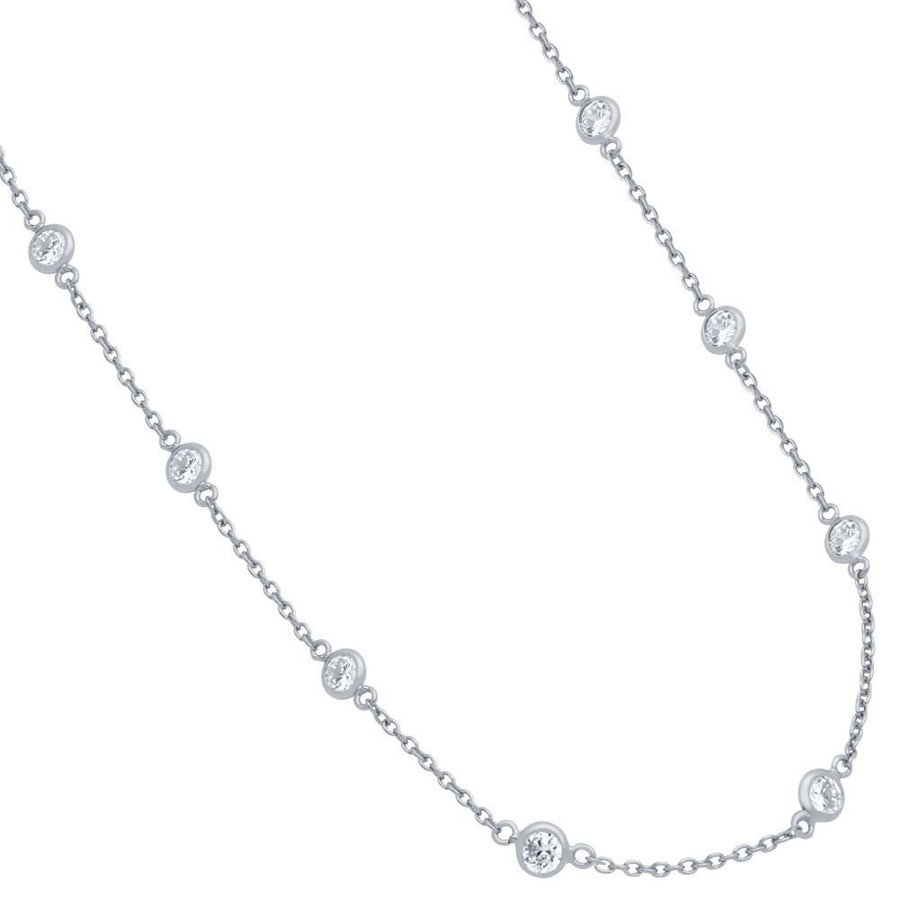 CloseoutWarehouse Bezel Set Clear Cubic Zirconia By The Yard Necklace Rhodium Plated Sterling Silver Size 7.5''+1''