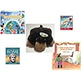 """Children's Gift Bundle - Ages 6-12 [5 Piece] - World of Disney Eye Found It Board Game - Scientific Explorer Meteor Rocket Science Kit Toy - Pillow Pet Pee Wee Monkey 11"""" - Life in Ancient Rome Hard"""