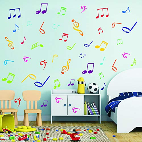 (BUCKOO Musical Note Wall Decals Music Sign Letter Quote Wall Stickers,DIY Removable Vinyl Wall Decal for Classroom Recording Studio Home)