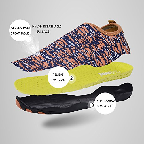 UNN Wasser Schuhe Multifunktionale Quick-Dry Barfuß Flexible Haut Aqua Socken für Beach Swim Surf Yoga Übung Orange