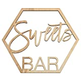 Koyal Wholesale Wood Sweets Bar Sign, Wedding Display, Party Banner, Event Decorations For Wedding Engagement Bridal Shower Baby Shower Birthday Party (Sweets Bar)