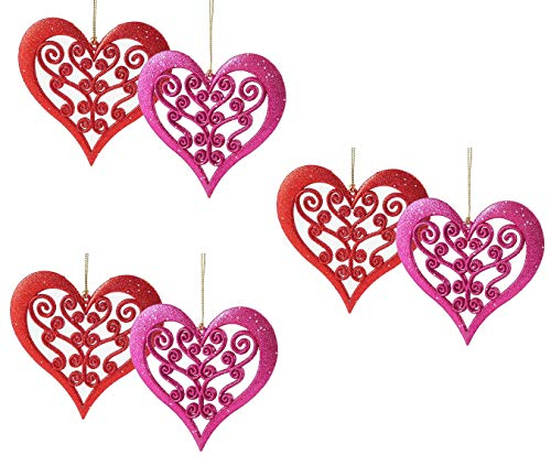 Glitter Love Heart Cutout Hanging Valentine Decoration - Set of 6