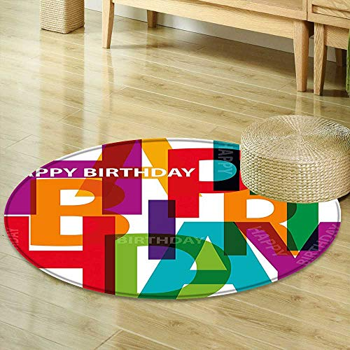 Round Rug Kid Carpet Birthday Decorations Vibrant Letters Scattered Broken Text Puzzle Like Display Graphic Multicolor Home Decor Foor Carpe ()