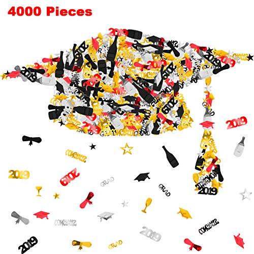 4000 Pieces 3.5 oz 2019 Graduation Confetti Table Confetti with Congrats, Grad, Star, Cap, Diploma, Graduation Decoration for Grad Party, Gold, Black and Silver (Red) ()