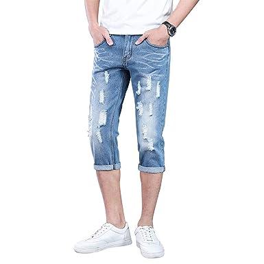 7c9ea099a23a5 Jeans pour Hommes Pantalons Denim Pantalons Slim Coupe Loisirs Skinny  Destroyed Corts Jeans Denim Shorts Pantalons
